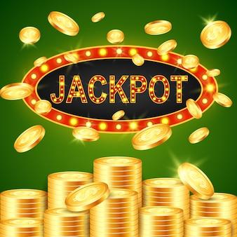 Gagnant du jackpot et fond vert.