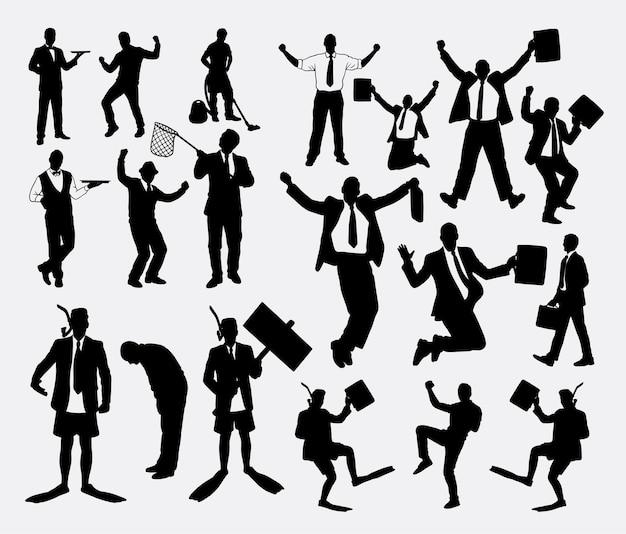Gagnant du succès et silhouette d'homme d'affaires travaillant
