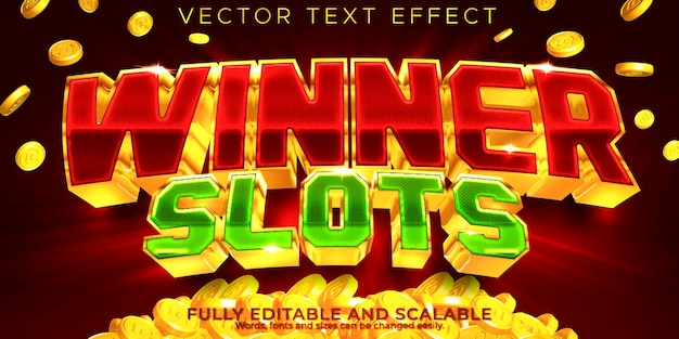 Gagnant modifiable d'effet de texte de machine à sous de casino et style de texte de jeu