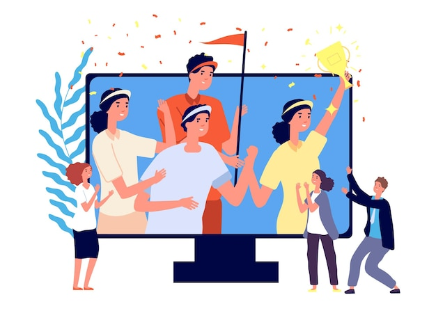 Gagnants du concours de cybersport. équipe heureuse avec la tasse d'or sur l'écran d'ordinateur fans de dessin animé plat, illustration vectorielle de sport en ligne amusante. cybersport par équipe, tournoi de championnat