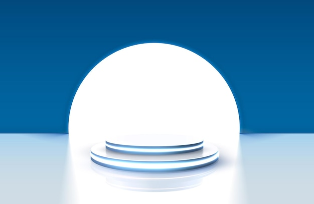 Gagnants du podium pour les concepts d'entreprise, fond bleu de la scène