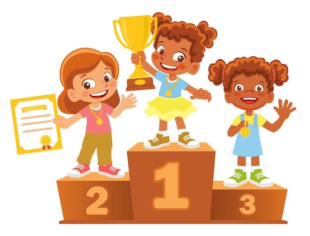 Gagnants des filles afro-américaines sur le podium. piédestal gagnant