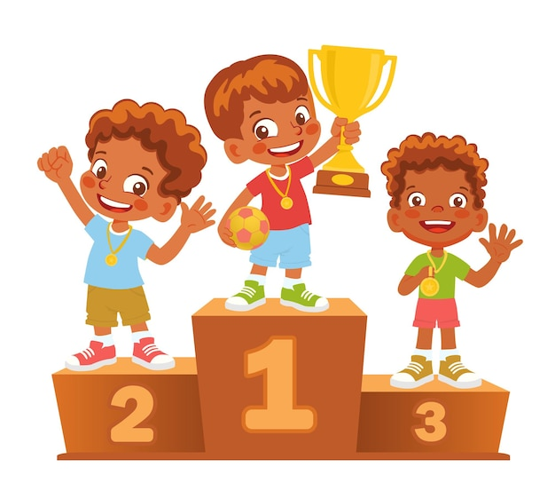 Gagnants garçons sur le podium. piédestal gagnant