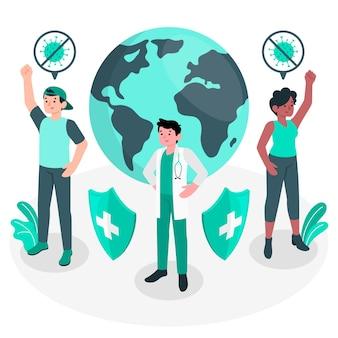 Gagner la bataille contre le concept de coronavirus illustration