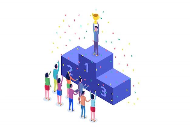 Gagner, entreprise gagnant isométrique, succès et concept de réalisation avec des personnages.