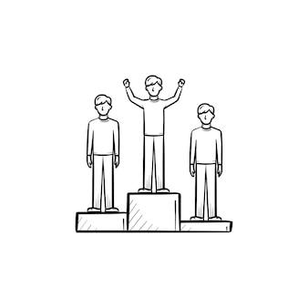 Gagnez l'icône de doodle contour dessiné à la main de l'équipe de la médaille. gagnez une illustration de croquis de podium pour l'impression, le web, le mobile et l'infographie isolés sur fond blanc.