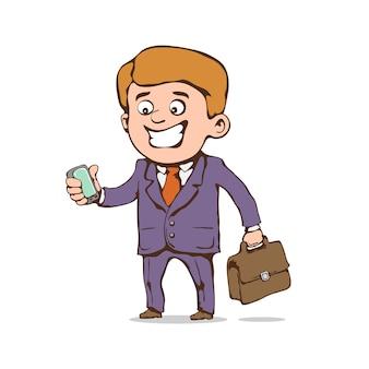 Gai homme d'affaires avec téléphone portable