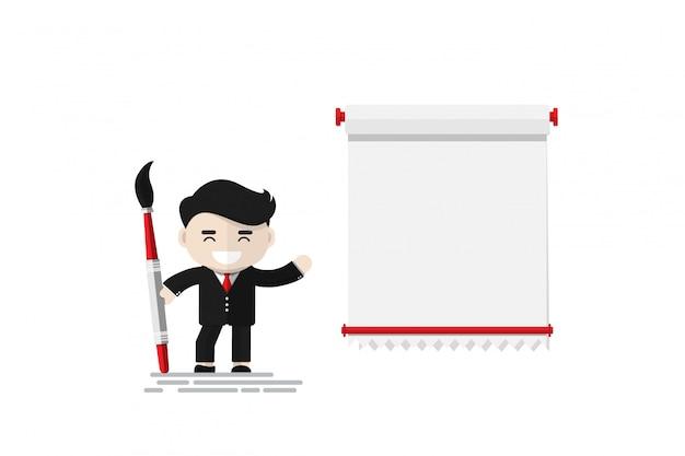 Gai homme d'affaires tenant un pinceau avec rouleau de papier fixé au mur, personnage de design plat, élément d'illustration
