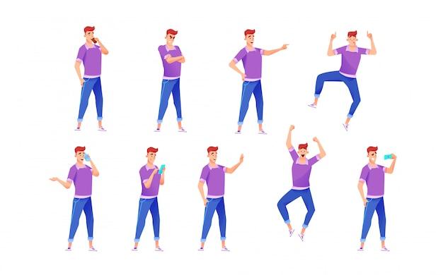Gai jeune homme en jeans, t-shirt diverses poses, gestes et émotions définies.