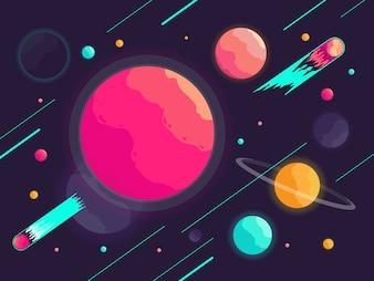 Galaxie avec fond de belles planètes