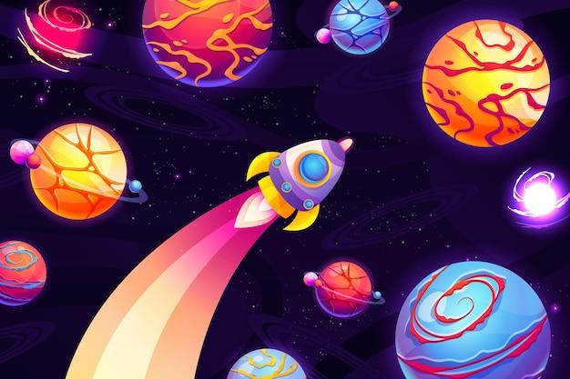 Galaxie de dessin animé avec fond d'étoiles
