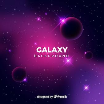 Galaxie réaliste avec fond de planètes