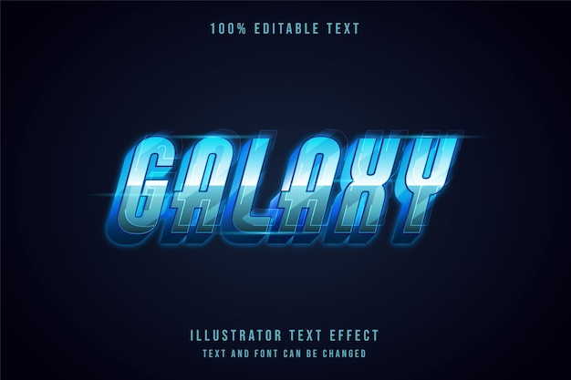 Galaxy, effet de texte modifiable 3d style de texte futuriste dégradé bleu moderne