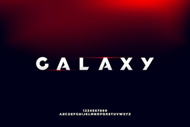 Galaxy, une police alphabet futuriste abstraite avec le thème de la technologie. conception de typographie minimaliste moderne