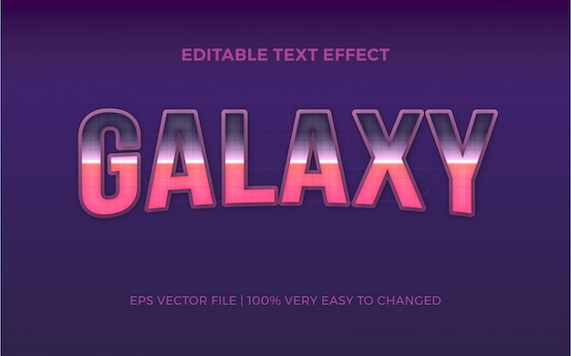 Galaxy text effect editable font