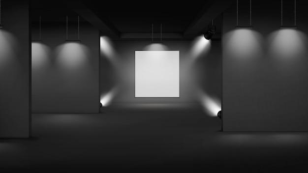 Galerie d'art intérieur vide avec photo au centre, éclairé par des projecteurs