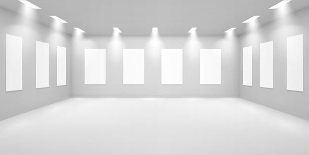 Galerie d'art vide salle 3d avec murs blancs, musée