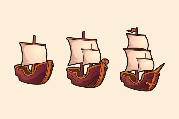 Galleon boats avec vecteur de voiles blanches