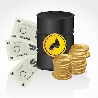 Gallon de pétrole avec billets de banque et pièces de monnaie