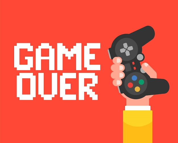 Game over affiche avec une main qui tient le joystick