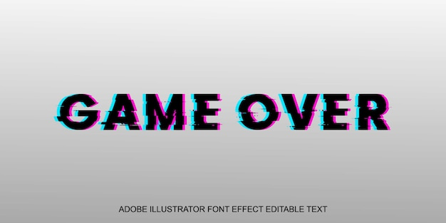 Game over glitch editable text effect font