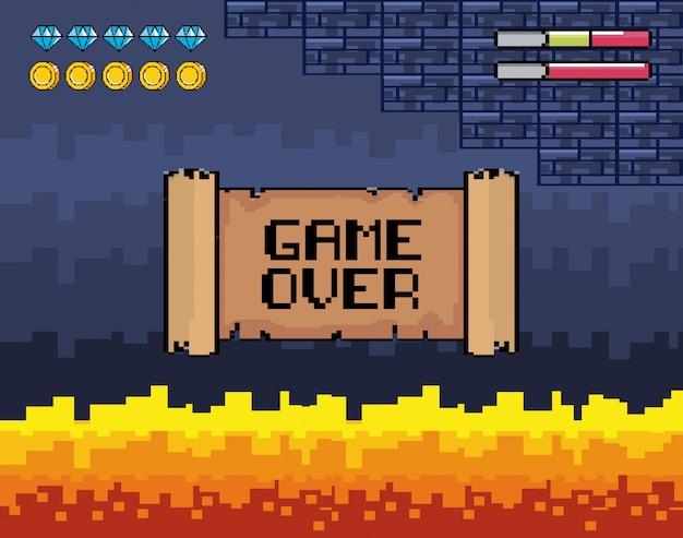 Game over message avec scène de feu et barres de vie