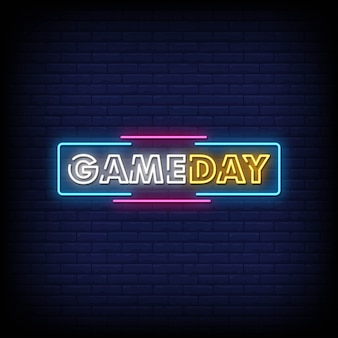 Gameday Neon Signs Style Texte Vecteur Premium
