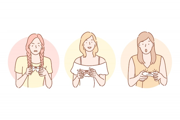 Gamer, jouer, addiction set concept