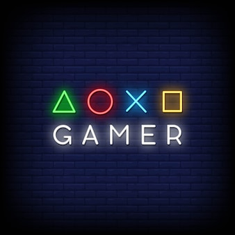 Gamer neon signs style texte