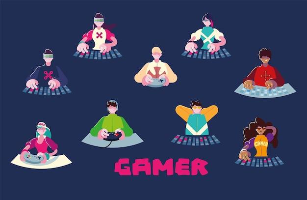 Gamer personnage dessin animé hommes femmes