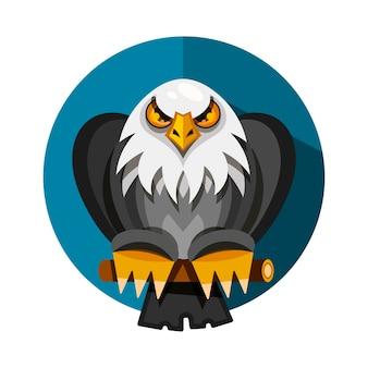 Gamme de conception d'icônes avec l'aigle américain, rendue dans un style design plat