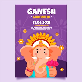 Ganesh chaturthi poster template draw