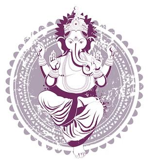 Ganesh dessiné à la main dans le style vintage