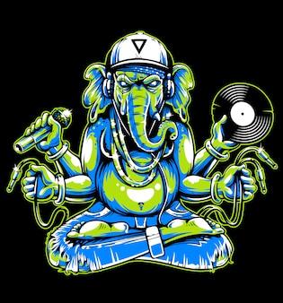 Ganesha avec des attributs musicaux
