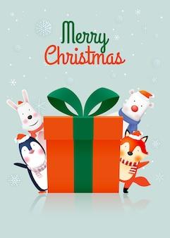 Gang d'animaux et grand coffret cadeau en papier art et couleurs pastel