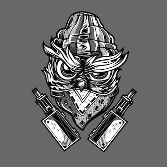 Gangsta owl illustration en noir et blanc