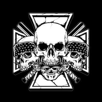 Gangster crâne avec bat stick bâton en laiton et icône indépendante