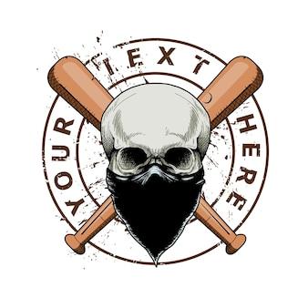 Gangster de crâne avec bâton de baseball croisé