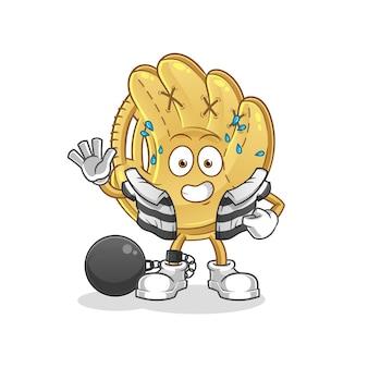 Gant de baseball criminel. personnage de dessin animé
