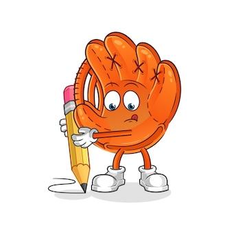 Gant de baseball écrire avec mascotte de dessin animé de crayon