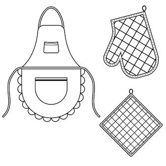 Gant de four et gant de four et tablier suspendus à la grille sur des crochets, illustration vectorielle isolée de contour noir.