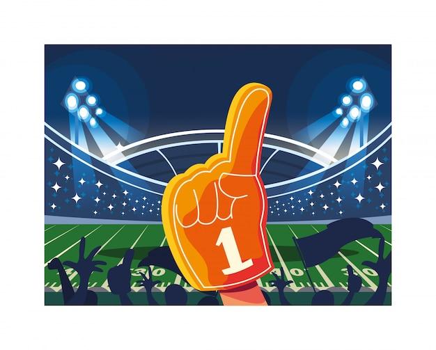 Gant à main avec éventail numéro 1, doigt en mousse jaune