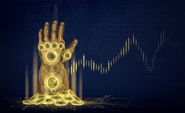 Gantelet d'or de la plaque chevaleresque de l'infini avec tas de pièces bitcoin crypto-monnaie