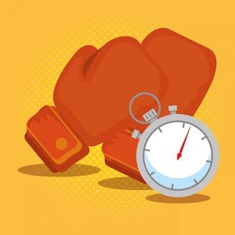 Gants de boxe et chronomètre