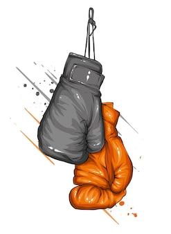 Gants de boxe sur fond blanc. illustration.