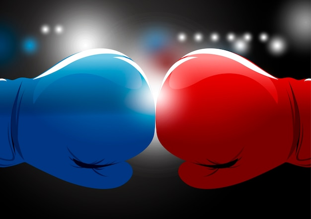 Gants de boxe rouges et bleus avec fond clair