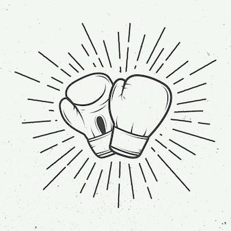 Gants de boxe de style vintage. illustration vectorielle