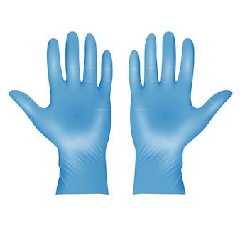 Gants de protection en latex médical bleu réaliste
