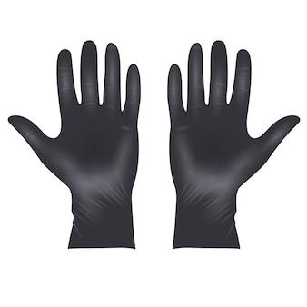 Gants de protection en latex médical, gants noirs réalistes