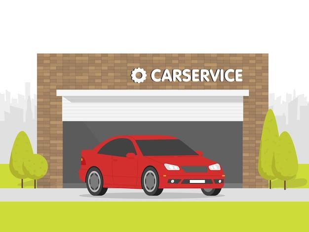 Garage de l'atelier de réparation automobile. la voiture sur fond de bâtiment en brique. l'espace urbain en arrière-plan.
